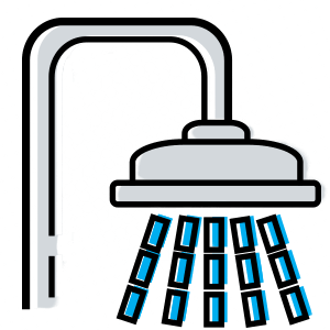 Illustration of a shower head with water drops
